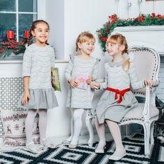 Сукня сіра трапеція дитяча з рукавами-крильцями - одяг TsiomikKids