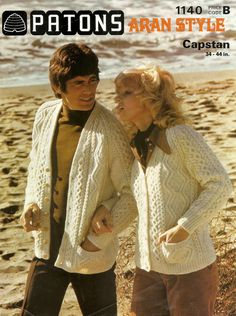 A PDF copy of a vintage knitting pattern to make classic Aran cardigans to fit men and women. In Patons Capstan Aran Knitting Wool In six sizes to fit from 34-44 inch chest.   This vintage pattern is in UK terminology and English language, I provide a UK/USA conversion chart with your purchase. This listing is for a PDF copy of the above vintage knitting pattern, not the actual pattern, or the garment. It is available by instant download and will appear in the downloads section of your Etsy…