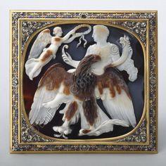 """camée, """"Apothéose de Claude"""" (Camée.265), BnF. Monture : Belle, Josias 1686  Camée : Skylax entre 48 et 50 (vers)"""