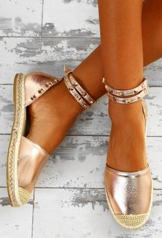 Dream Destination Rose Gold Studded Espadrilles | Pink Boutique