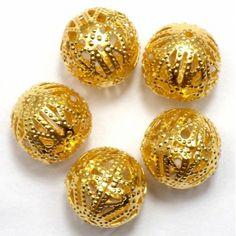 Metal Beads Golden Round