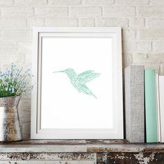 Hummingbird Print, Sketch Art Print, Minimalist Art, Mint Green Decor, Wall Print, Bird Wall Decor, Printable Wall Art, Downloadable Print by HappyCatDownloads on Etsy https://www.etsy.com/listing/263555963/hummingbird-print-sketch-art-print