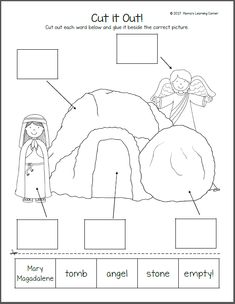Christian Easter Worksheets for Kindergarten and First Grade - Mamas Learning Corner crafts first grade Christian Easter Worksheets for Kindergarten and First Grade Easter Activities For Kids, Sunday School Activities, Sunday School Crafts, Easter Crafts For Church Kids, Youth Activities, Church Crafts, Easter Worksheets, Phonics Worksheets, Easter Religious
