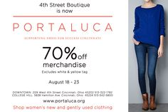 70% off designer and summer merchandise! Stop by our downtown and College Hill locations for all of the latest!