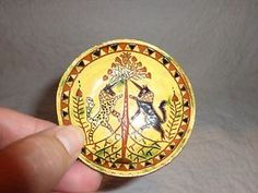 Miniature Breininger Redware Pottery Charger Toddy Plate Unicorns 1991   eBay