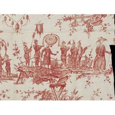 Fragment de coton imprimé, seconde moitié du XVIII° siècle. Procession de personnages, chinoiserie. Conservé au V&A, Londres, T.318-1919.