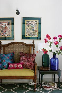 Ethnic Home Decor, Indian Home Decor, Living Room Interior, Living Room Decor, Indian Interior Design, Indian Room, Indian Interiors, Indian Homes, Home Fashion