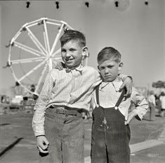 """April 1936. """"Farm boys of the Pecos Valley, New Mexico, at carnival in Roswell."""" Medium-format nitrate negative by Arthur Rothstein for the Resettlement Administration."""