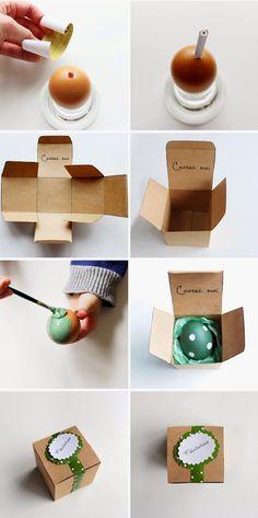 Un oeil surprise pour annoncer la nouvelle ? Videz l'œuf et insérez votre message écrit sur un papier. Il faudra ensuite le peindre dans les couleurs de votre choix et le placer dans une jolie boite à offrir !