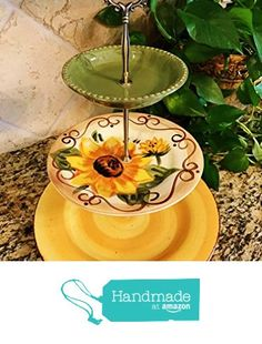 Three Tier Stand, Jewelry Stand, Vanity Stand, Cake Plate, Tray, Mismatched Plates, Cupcake Stand, Dessert, Appetizer, Tidbit, Vintage, Sun Flower, Tuscan from Revived Charm https://www.amazon.com/dp/B06XG1YWB1/ref=hnd_sw_r_pi_dp_zfJVybKQQEZBJ #handmadeatamazon