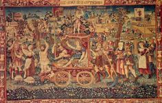 The tapestry known as Summer's Triumph was created in Bruges (the capital of West Flanders province in the Flemish Region of Belgium) around 1538. Currently, it resides in the Bayerisches National Museum. Summer's Triumph is famous (or infamous) among conspiracy theorists because it clearly depicts a number of distinctly UFO-like objects flying i