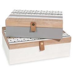 2 Boxen aus dreifarbigem Kiefernholz mit Motiven ISA