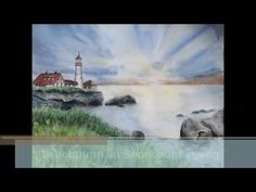 Sunset Lighthouse Watercolor Aquarell Speed painting Leuchtturm