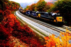 Train Autumn Road Leaves Cars - HD Wallpaper #33243