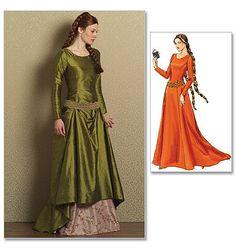 Histórica Medieval-vestido y falda con cinturón  Butterick