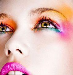 Colorful Brights Greek model Klelia Andriolatou for Greek Elle. Very beautiful colorful makeup.