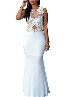 Cfanny Women's Lace Applique Nude Mesh Evening Maxi Dress Gown *** You can find more details by visiting the image link.