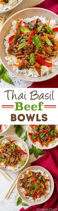 Thai Basil Beef Bowls - quick and easy and deliciously flavorful! Better than the local Thai restaurant! Thai Basil Beef Bowls - quick and easy and deliciously flavorful! Better than the local Thai restaurant! Thai Recipes, Asian Recipes, Beef Recipes, Dinner Recipes, Cooking Recipes, Healthy Recipes, Beef Tips, Sirloin Recipes, Beef Sirloin