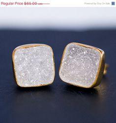 SALE  Stud Earrings  Cushion Natural Druzy Stud Post by delezhen