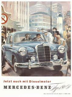 Mercedes-Benz-Werbung von 1954. Via: http://www.zwischengas.com/de/blog/2011/01/04/Fahrzeugwerbung-von-1950-bis-1980---Zeitzeugen-und-ver-nderte-Geschm-cker.html