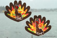 Thanksgiving Footprint Turkey with Tissue Paper Stained Glass Wings - Meaningfulmama.com