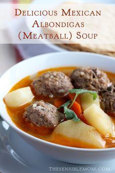 Delicious Mexican Albondigas (meatball) Soup! #albondigas #meatballsouprecipe #latinfood #shop #VivaLaMorena