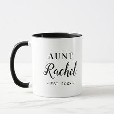 Personalized Aunt Monogram Mug New Aunt, New Baby Announcements, Name Mugs, Aunt Gifts, Christmas Mugs, Christmas 2019, Monogram Gifts, Modern Minimalist, Gifts For Family