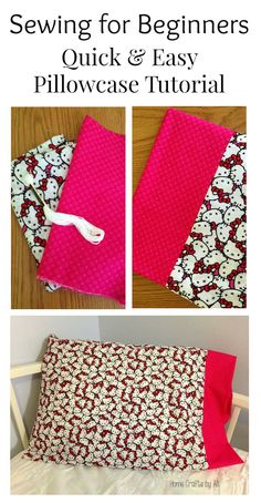Sewing for Beginners project - A Quick & Easy Pillowcase. Follow this simple step-by-step tutorial to make one for yourself or a gift!