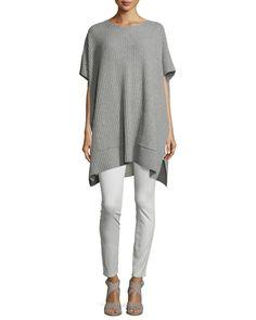 -6T5K Eileen Fisher Sueded Organic-Stretch Sateen Jeans, Bone