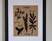 Vintage Herbs, French inspired Burlap Framed Wall Art FRAME IS INCLUDED