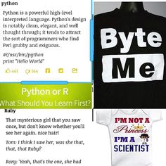 #Python vs. #Ruby via @urbantexts & t-shirts. #LearnToCode #CoderLife #FashionTech #FinTech #FinanceTechnology #CodingLanguage #PythonProgramming #RubyOnRails #CodingBootcamp #CodingSchool #CodingCamp #C #JavaScript #Java #PHP #TechEducation #Coder #CoderStyle #PythonEarCode #PyGotham #developer #DeveloperLife #Django #TechEducation #TechStyle #Hacker #Hackathon #BigData