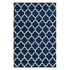 Zenati Rug in Dark Blue & Ivory II Hand-tufted wool rug with a trellis motif.  Product: Rug Construction Material: 100% Wool Color: Dark blue & ivory
