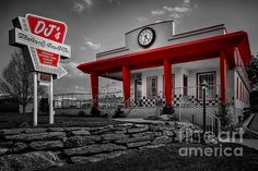 DJ's taste of the 50's diner in black and white with red as the selective color.