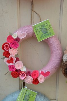 Yarn Wreath - VALENTINE'S DAY - 12 inch Rose Yarn Covered Straw Wreath with Handcrafted Felt Flowers and Heart Accents