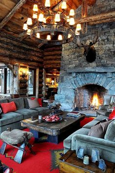 47 Extremely cozy and rustic cabin style living rooms cabin living room ideas Log Cabin Living, Log Cabin Homes, Log Cabins, Cozy Living, Construction Chalet, Stacked Stone Fireplaces, Fireplace Stone, Rustic Fireplaces, Open Fireplace