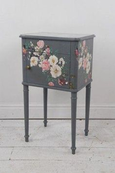 This beautiful little bedside table is delicately hand-painted and finished in a pale pink wash which is almost like a marbling effect and an antique Cabinet Furniture, Furniture Makeover, Painted Furniture, Furniture Projects, Diy Furniture, Furniture Design, Shabby Chic Bedrooms, Shabby Chic Furniture, Painted Bedside Tables