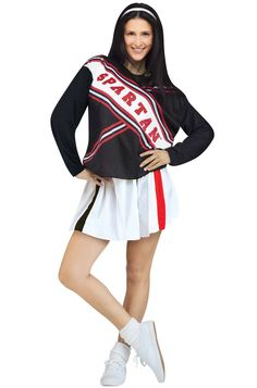 Saturday Night Live Female Spartan Cheerleader Adult Costume includes top with print logo and skirt. This costume is a pair with the male version. Dress up in couples for this Halloween and cheer for your school spirit.