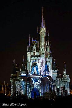 Walt Disney on the castle