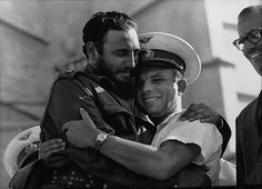 1961: The Cuban leader Fidel Castro embraces Russian cosmonaut and first man in orbit. Yuri Gagarin.