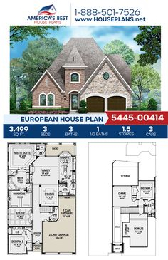 Plan 5445-00414 offers a European home with 3,499 sq. ft., 3 bedrooms, 3.5 bathrooms, a breakfast nook, a kitchen island, an open floor plan, a bonus room, a media room, a mudroom, and a study. #europeanhome #openfloorplan #architecture #houseplans #housedesign #homedesign #homedesigns #architecturalplans #newconstruction #floorplans #dreamhome #dreamhouseplans #abhouseplans #besthouseplans #newhome #newhouse #homesweethome #buildingahome #buildahome #residentialplans #residentialhome European House Plans, Best House Plans, Dream House Plans, Breakfast Nook, Open Floor, New Construction, Mudroom, Square Feet, French Country