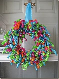 Another birthday party wreath.  Cute idea for a birthday!  Put it up to celebrate a family member's birthday.
