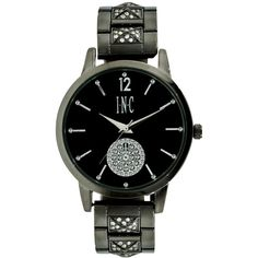 Inc International Concepts Women's Crystal Gunmetal Bracelet Watch... ($37) ❤ liked on Polyvore featuring jewelry, watches, gunmetal, crystal stone jewelry, gun metal jewelry, crystal jewellery, gunmetal watches and gunmetal jewelry