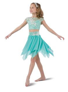 a4565c68bf Mint sequin lace over mint spandex crop with elastic midriff. Separate  hi-rise spandex
