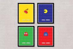 INSTANT DL- Pacman and Ghost Video game 8-Bit  - Art Print -  Wall Art - Kids Nursery Decor - printable 8x10 inch jpeg - digital file