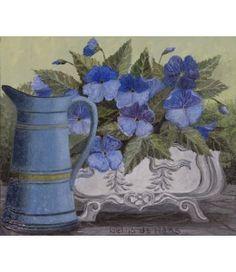 Laetitia de Haas. Blauwe Kan. Kaart met bloemen van kunstkaartjesturen.nl