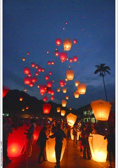 Floating lanterns at the wedding reception? Yes, please!