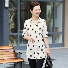 New Fashion Print Blouses Women Long Style Shirts 2018 Cotton Ladies Tops Long Sleeve Blusas Femininas Plus Size Women Clothing Tops Manga Larga, Long Sleeve Tops, Long Sleeve Shirts, Chiffon Shirt, Plus Size Womens Clothing, Plus Size Blouses, Printed Blouse, Casual Tops, Blouses For Women