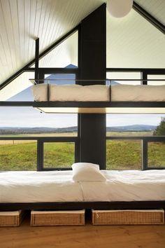 Unique Bunk Beds | Unique overhanging bunk beds of Traditional Quebec house interior-La ...
