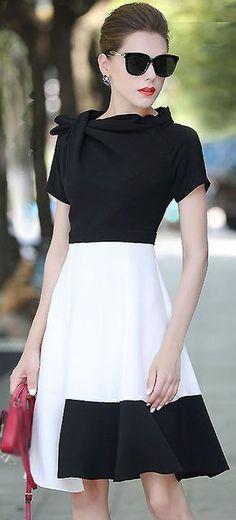 Brief Slash Neck Short Sleeve Hit Color Dress
