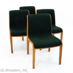 Bill Stephens for Knoll Mid Century Bent Wood Dining Chairs - Set of 4 Each chair measures: 23 wide x 19.5 deep x 31.75 high, with a seat height of 17.5 inches The price on our website includes getting this piece in Restored Vintage Condition. This means the piece is restored upon purchase so it's free of watermarks, chips or deep scratches with color loss - all at no additional cost to you, but it takes a bit longer to ship if you choose to have it restored.